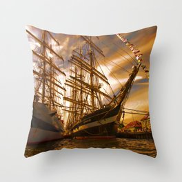 Tall ships in the sunset Throw Pillow