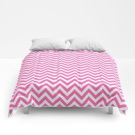 Creamy Pink and White Chevron Comforters