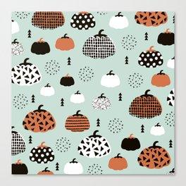 Inky Texture Pumpkins halloween illustration pattern design mint orange Canvas Print