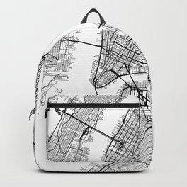 New York Map White Backpack