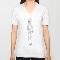 cigarette V-neck T-shirts featuring cigarette by finespun bubblegum