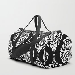 Black Monochrome Damask Pattern Duffle Bag