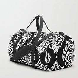 Black Monochrome Damask Pattern Duffle Bag
