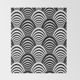 Black and White Art Deco Pattern Throw Blanket