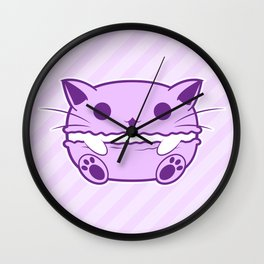Purple Kawaii Cat Macaroon Wall Clock