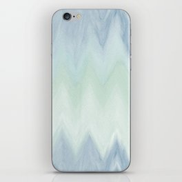 Modern geometrical pastel blue mint green watercolor ikat iPhone Skin