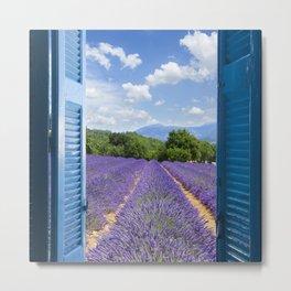 wooden shutters, lavender field Metal Print