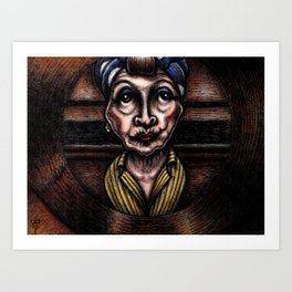 Minnie Castevet at the Peephole (from Rosemary's Baby) Art Print