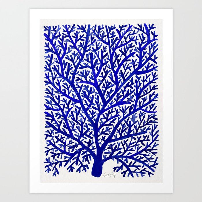 Fan coral navy art print by catcoq society6 fan coral navy art print publicscrutiny Images