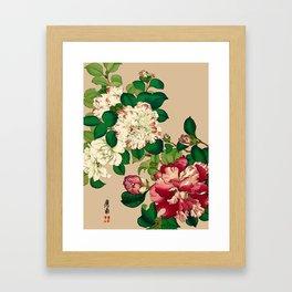 Vintage Japanese Camellias. Deep Pink on Beige Framed Art Print