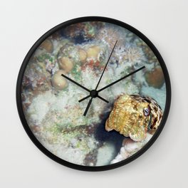 Baby Cuttlefish and Hard Coral Wall Clock