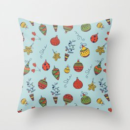 Christmas Baubles Decorative Pattern Throw Pillow