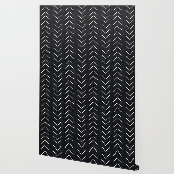 Mudcloth Big Arrows in Black and White Wallpaper