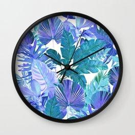 Tropical Leaf Blue Wall Clock