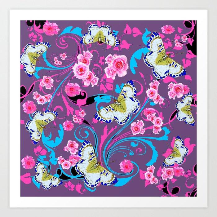 Pink Roses Butterflies Blue Scrolls Art Art Print By Sharlesart