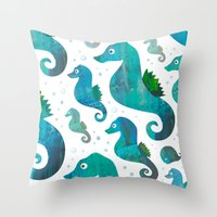 racing Throw Pillows featuring Seahorse Racing by Andrew Fox