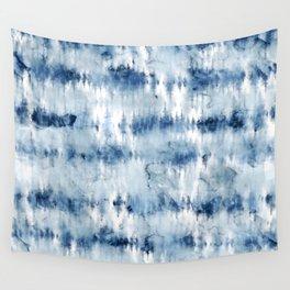Modern hand painted dark blue tie dye batik watercolor Wall Tapestry