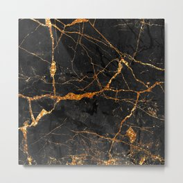 Black Malachite Marble With Gold Veins Metal Print