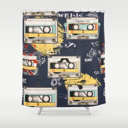 Fashion hipster pattern with cassette on shabby background Shower Curtain