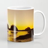 saga Mugs featuring sunset gold by dedmanshootn