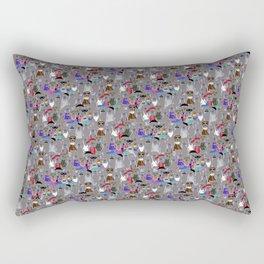 Small Print Dog Weim Nation Grey Ghost Weimaraner Hand-painted Pet Pattern on Blue Rectangular Pillow