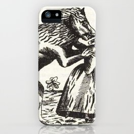 Werewolf attack Medieval etching iPhone Case