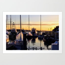 Boston Harbor Sunrise - Boats Art Print