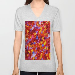 Abstract Red 002 Unisex V-Neck