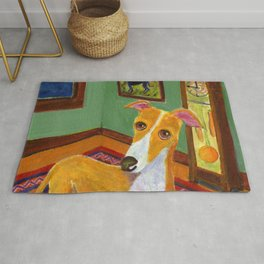 """Greyhound with grandfather clock """"Time's up"""" Rug"""
