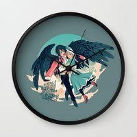 calcifer Wall Clocks featuring Fly Away With Me by Nikittysan