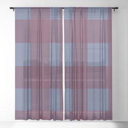 Burgundy and blue buffalo plaid pattern Sheer Curtain