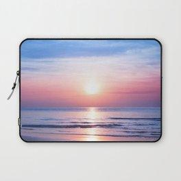 Beautiful morning sunrise, blue sea, pink sky, white clouds, yellow sun glow, golden reflection on water, peaceful landscape, quiet sunset on ocean beach, dawn seascape, Thailand, Koh Samui island Laptop Sleeve
