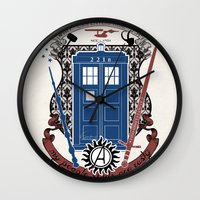fandom Wall Clocks featuring crest of the knight of fandom (a LOT of fandoms actually ;)  by Koroa