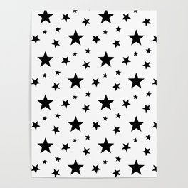Stars pattern White and Black Poster