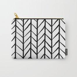 black and white modern hand drawn herringbone chevron pattern Carry-All Pouch