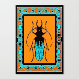 Black Turquoise Stag horn Beetle Western Art Abstract Canvas Print