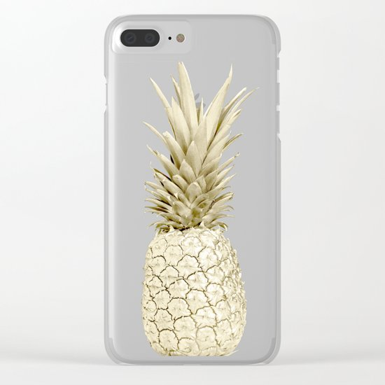Golden Pineapple Marble Clear iPhone Case