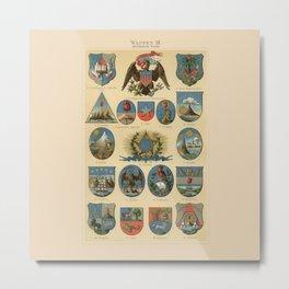 Coat of arms lithograph 1897 vintage illustration Metal Print