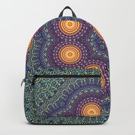 8 Suns Circular Bohemian Geometric Thread Weave Pattern \\ Yellow Green Blue Purple Color Scheme Backpack