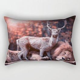 Unlikely Friends, Deer and Lion Rectangular Pillow