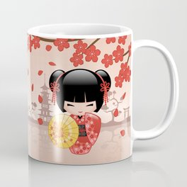 Japanese Red Sakura Kokeshi Doll Coffee Mug