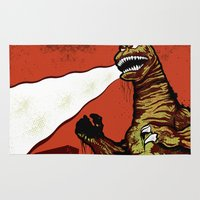 godzilla Area & Throw Rugs featuring Godzilla by HAZZAH!