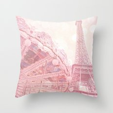 Paris Pink Eiffel Tower Carousel Throw Pillow