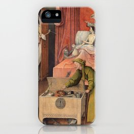 """Hieronymus Bosch """"Death and the Miser"""" iPhone Case"""