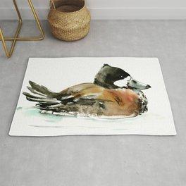 Ruddy Duck, duck artwork duck wall art design brown black Rug