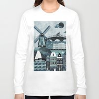 travel poster Long Sleeve T-shirts featuring Amsterdam Travel Poster by ClaireIllustrations