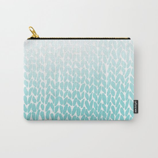 Hand Knitted Ombre Teal Carry-All Pouch