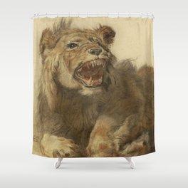 Cornelis Saftleven - A Lion Snarling Shower Curtain