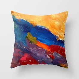 Present In Spirit Abstract Blue Yellow Throw Pillow