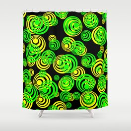 Neon yellow and Green Circles on Black Shower Curtain